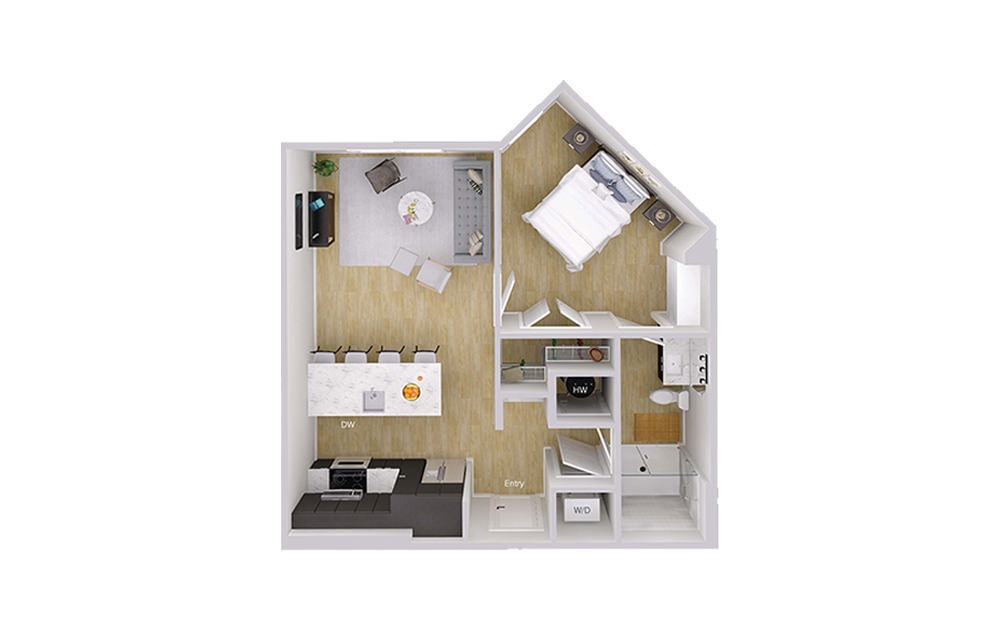 A1 - 1 bedroom floorplan layout with 1 bath and 692 square feet.