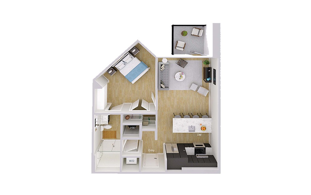 A1M1 - 1 bedroom floorplan layout with 1 bath and 718 square feet.