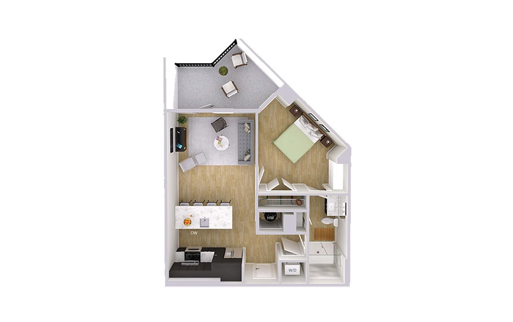 A1M2 - 1 bedroom floorplan layout with 1 bath and 692 square feet.