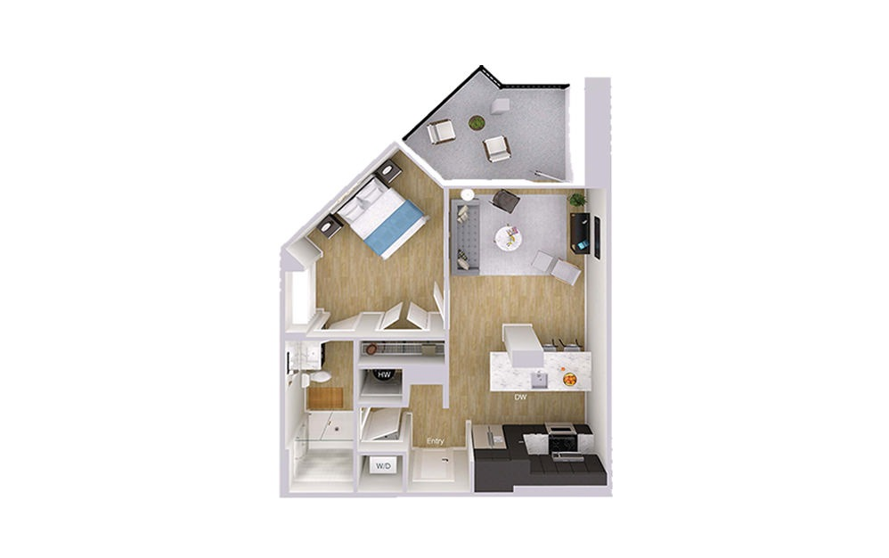 A1M3 - 1 bedroom floorplan layout with 1 bath and 718 square feet.