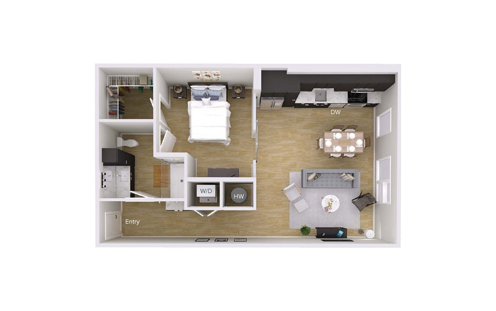 A2 - 1 bedroom floorplan layout with 1 bath and 802 square feet.