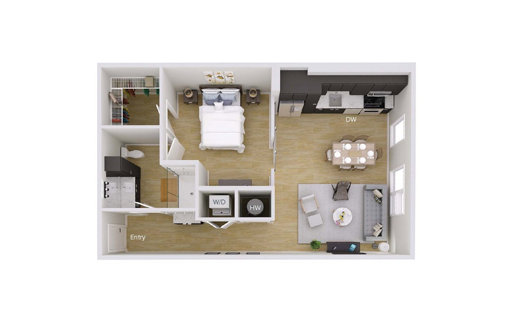 A2M1 - 1 bedroom floorplan layout with 1 bath and 757 square feet.