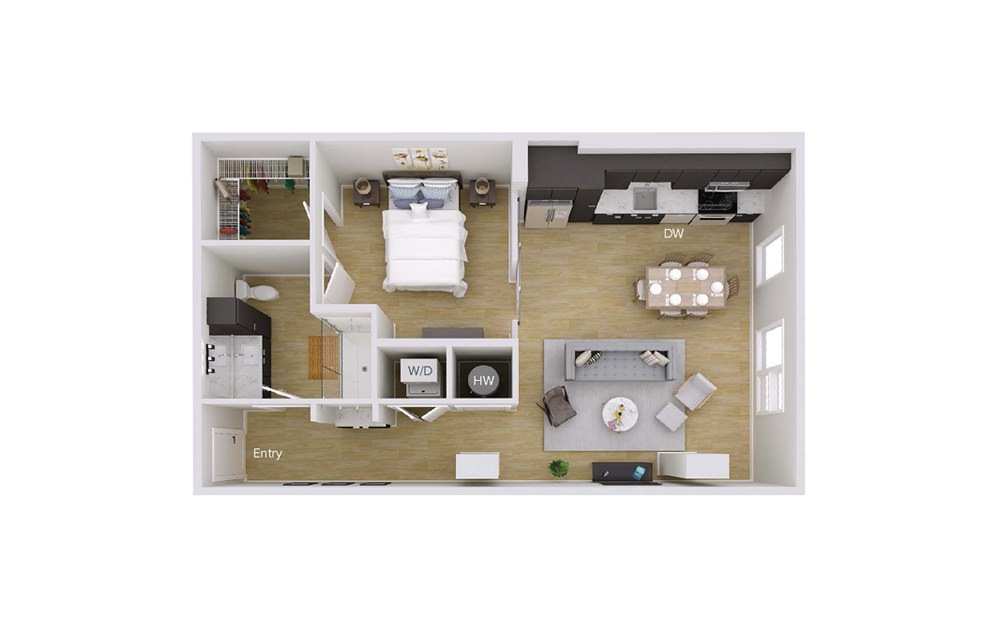A2M2 - 1 bedroom floorplan layout with 1 bath and 802 square feet.