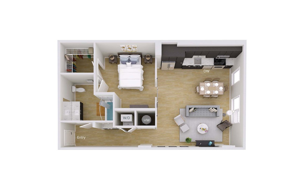 A2 Type A - 1 bedroom floorplan layout with 1 bath and 802 square feet.
