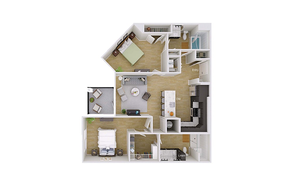 B2 - 2 bedroom floorplan layout with 2 baths and 1129 square feet.