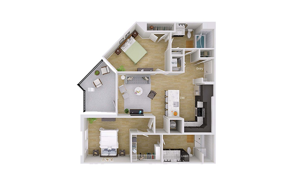B2M1 - 2 bedroom floorplan layout with 2 baths and 1129 square feet.