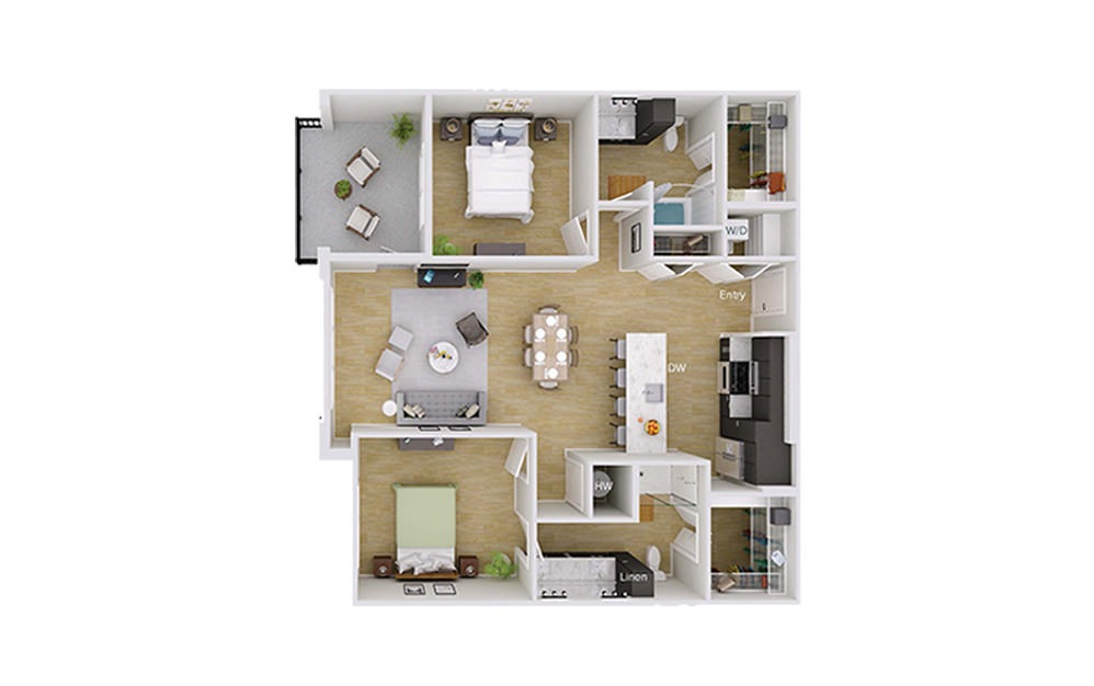 B3 - 2 bedroom floorplan layout with 2 baths and 1217 square feet.