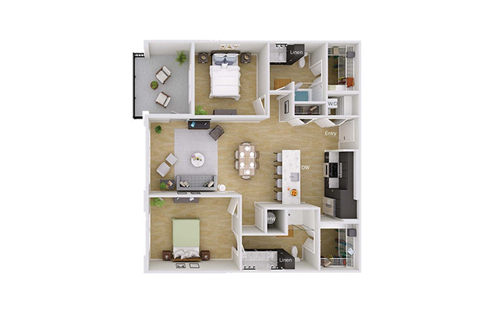 B3M1 - 2 bedroom floorplan layout with 2 baths and 1241 square feet.