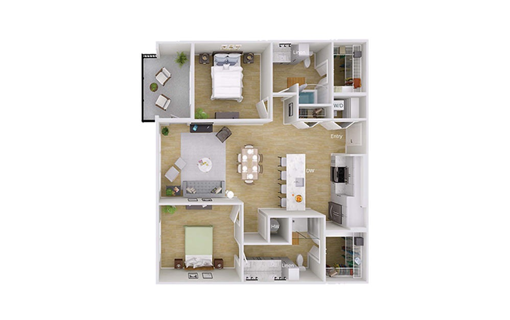 B3M2 Penthouse - 2 bedroom floorplan layout with 2 baths and 1191 square feet.