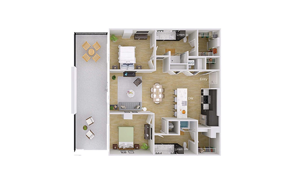 B3M3 - 2 bedroom floorplan layout with 2 baths and 1232 square feet.