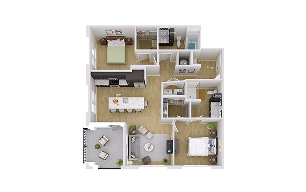 B4 Penthouse - 2 bedroom floorplan layout with 2 baths and 1157 square feet.