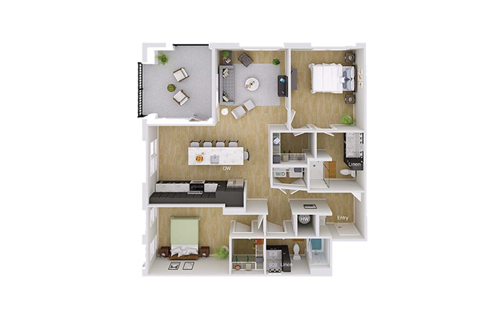 B4M1 - 2 bedroom floorplan layout with 2 baths and 1252 square feet.