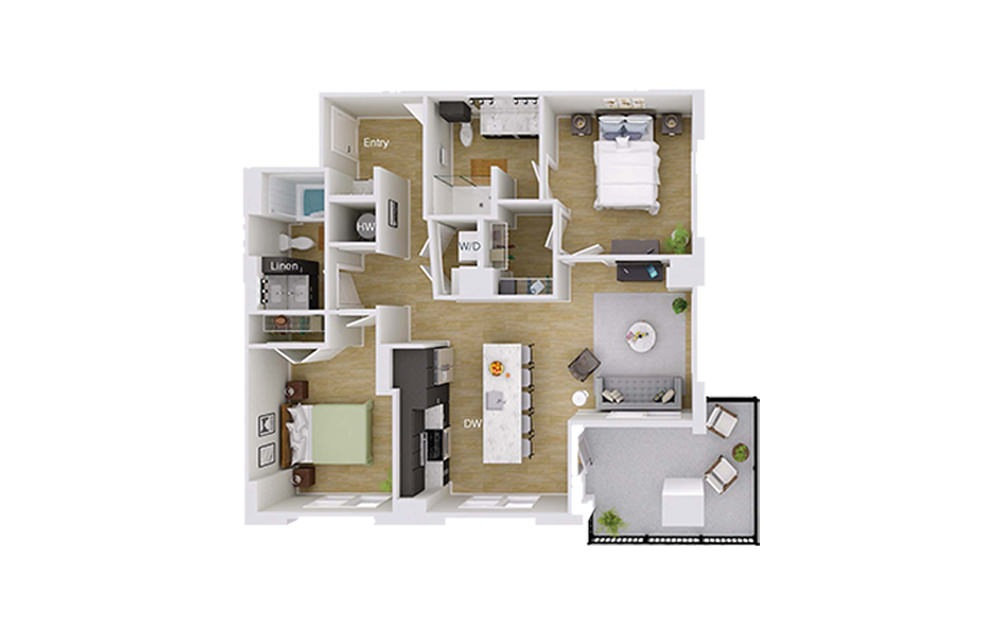 B4M2 - 2 bedroom floorplan layout with 2 baths and 1053 square feet.