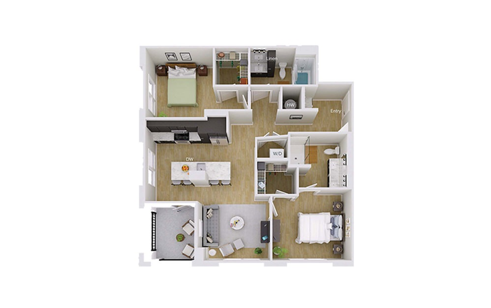 B4M3 - 2 bedroom floorplan layout with 2 baths and 1083 square feet.