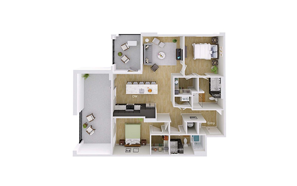 B4M4 - 2 bedroom floorplan layout with 2 baths and 1151 square feet.