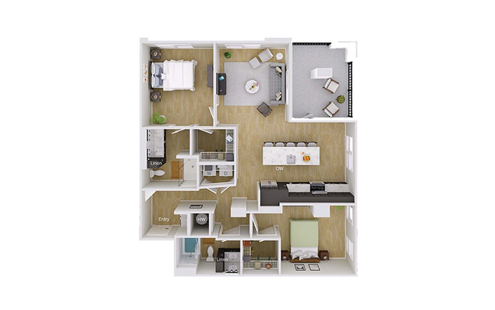 B4M5 - 2 bedroom floorplan layout with 2 baths and 1232 square feet.