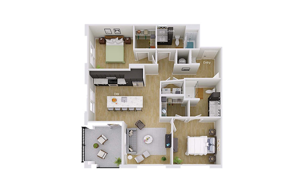 B4M6 Penthouse - 2 bedroom floorplan layout with 2 baths and 1157 square feet.
