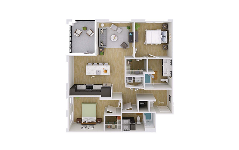 B4 Type A - 2 bedroom floorplan layout with 2 baths and 1157 square feet.