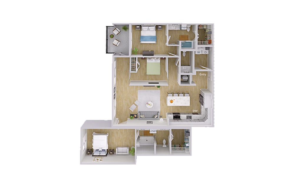 B5 Penthouse - 2 bedroom floorplan layout with 2.5 baths and 1620 square feet.