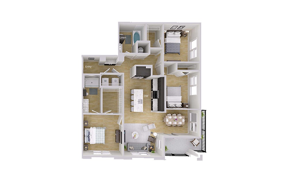 C1 - 3 bedroom floorplan layout with 2 baths and 1348 square feet.