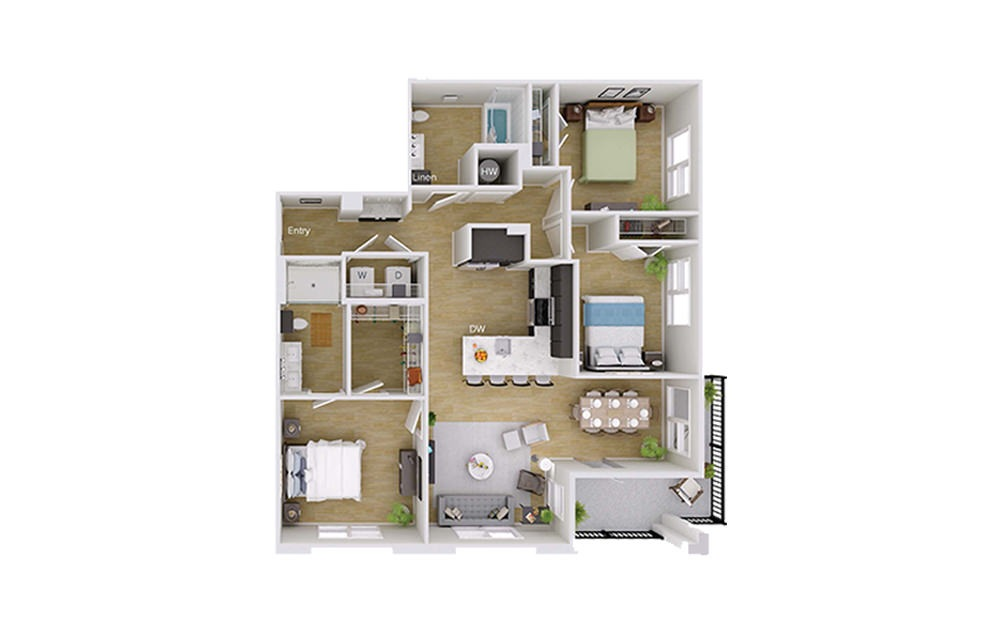 C1 Type A - 3 bedroom floorplan layout with 2 baths and 1348 square feet.