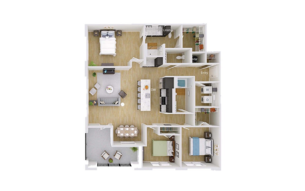 C2 - 3 bedroom floorplan layout with 2.5 baths and 1607 square feet.