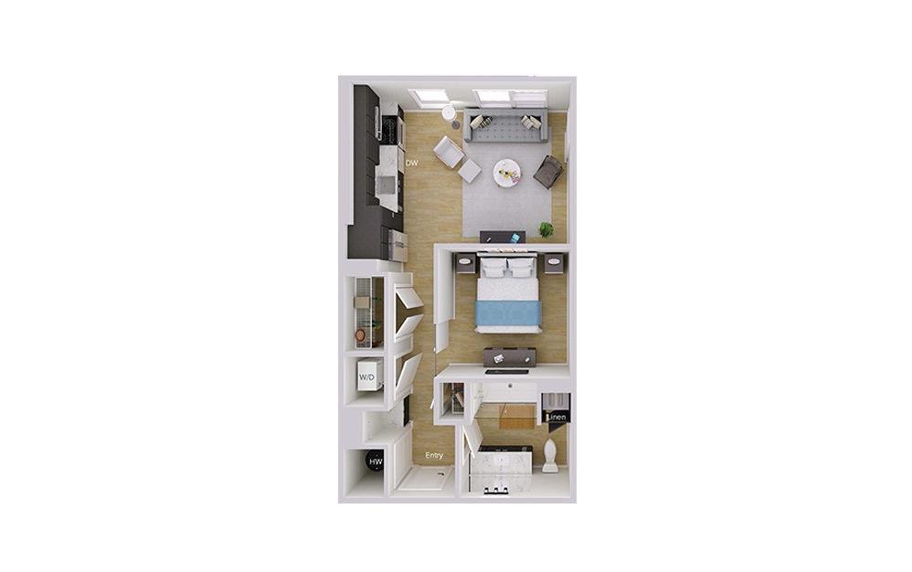 S1M1 - Studio floorplan layout with 1 bath and 588 square feet.
