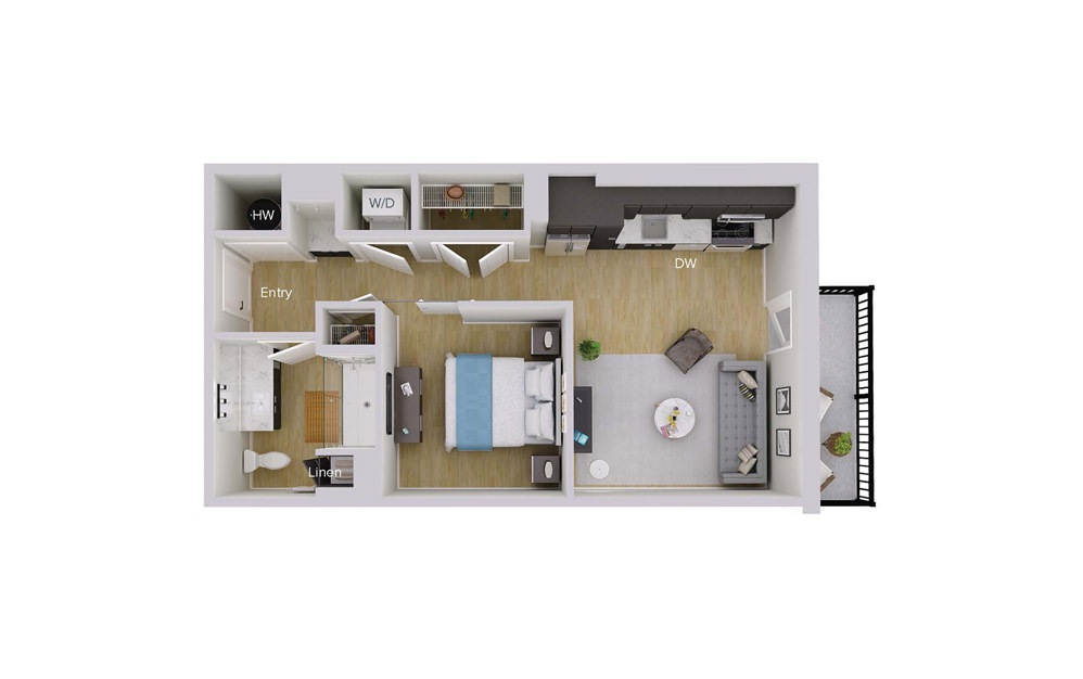 S1M3 - Studio floorplan layout with 1 bath and 576 square feet.