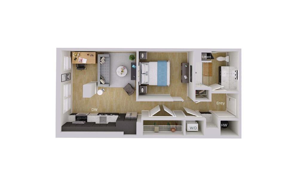 S1M4 - Studio floorplan layout with 1 bath and 648 square feet.