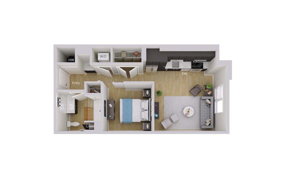 S1M6 - Studio floorplan layout with 1 bath and 604 square feet.