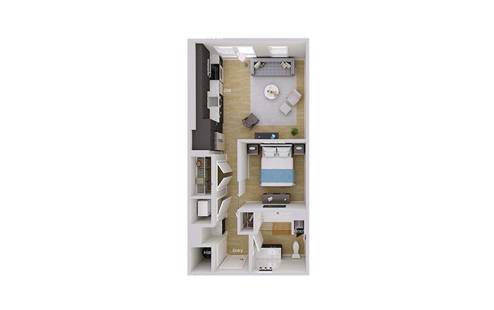 S1M7 - Studio floorplan layout with 1 bath and 606 square feet.
