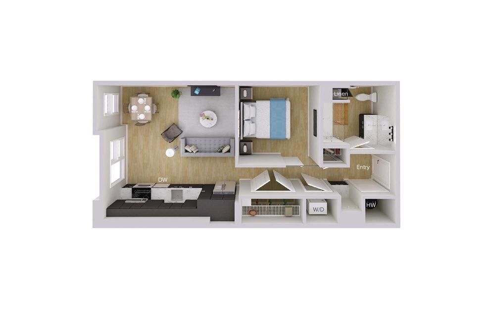 S1M8 - Studio floorplan layout with 1 bath and 641 square feet.