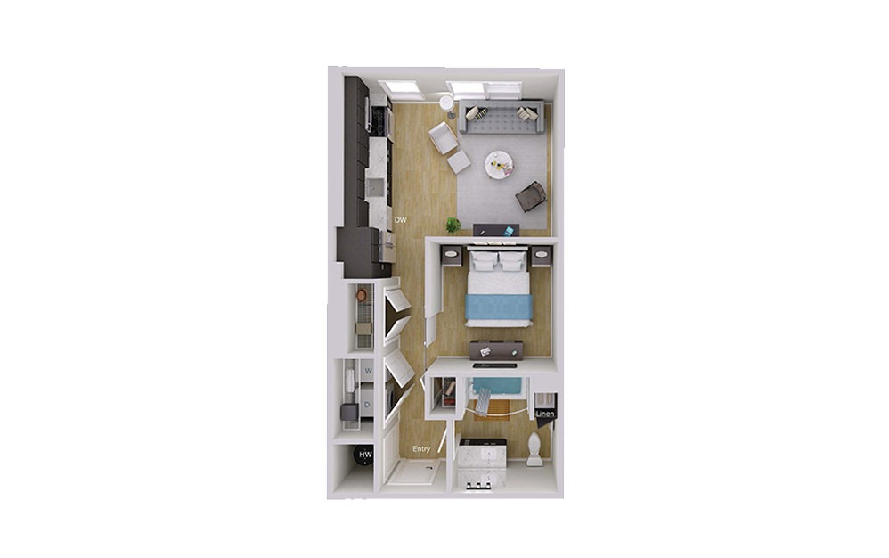 S1 Type A - Studio floorplan layout with 1 bath and 576 square feet.