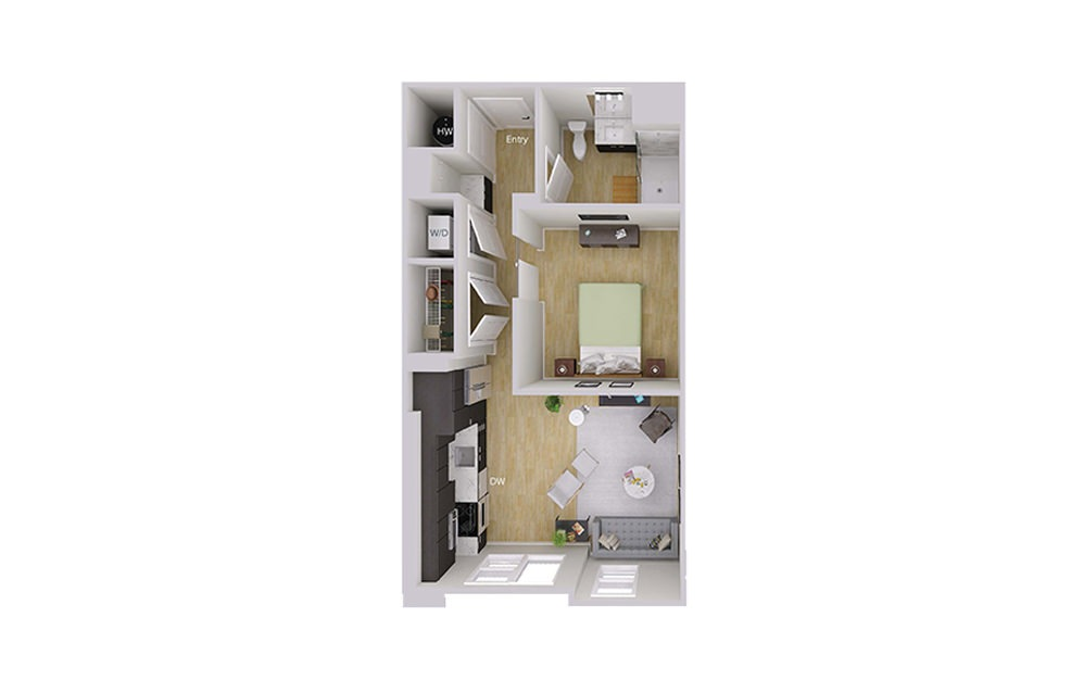 S2 - Studio floorplan layout with 1 bath and 615 square feet.