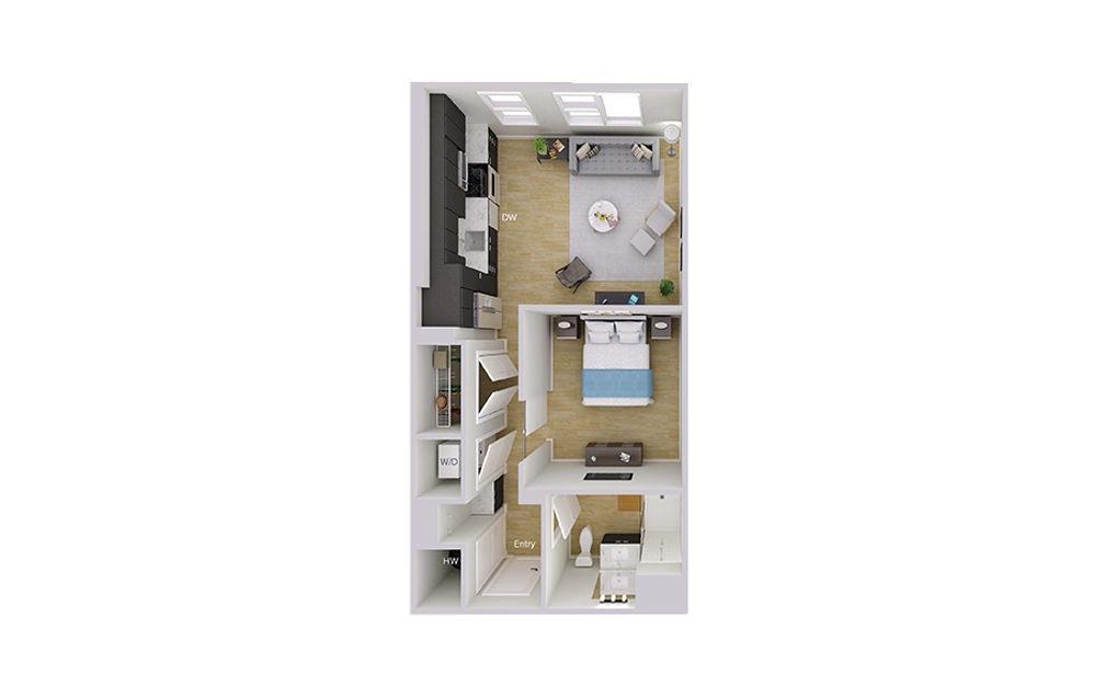 S2M1 - Studio floorplan layout with 1 bath and 641 square feet.