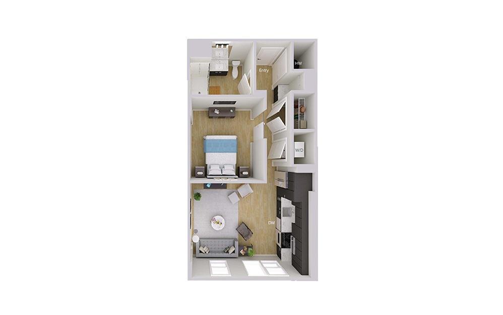 S2M3 - Studio floorplan layout with 1 bath and 624 square feet.