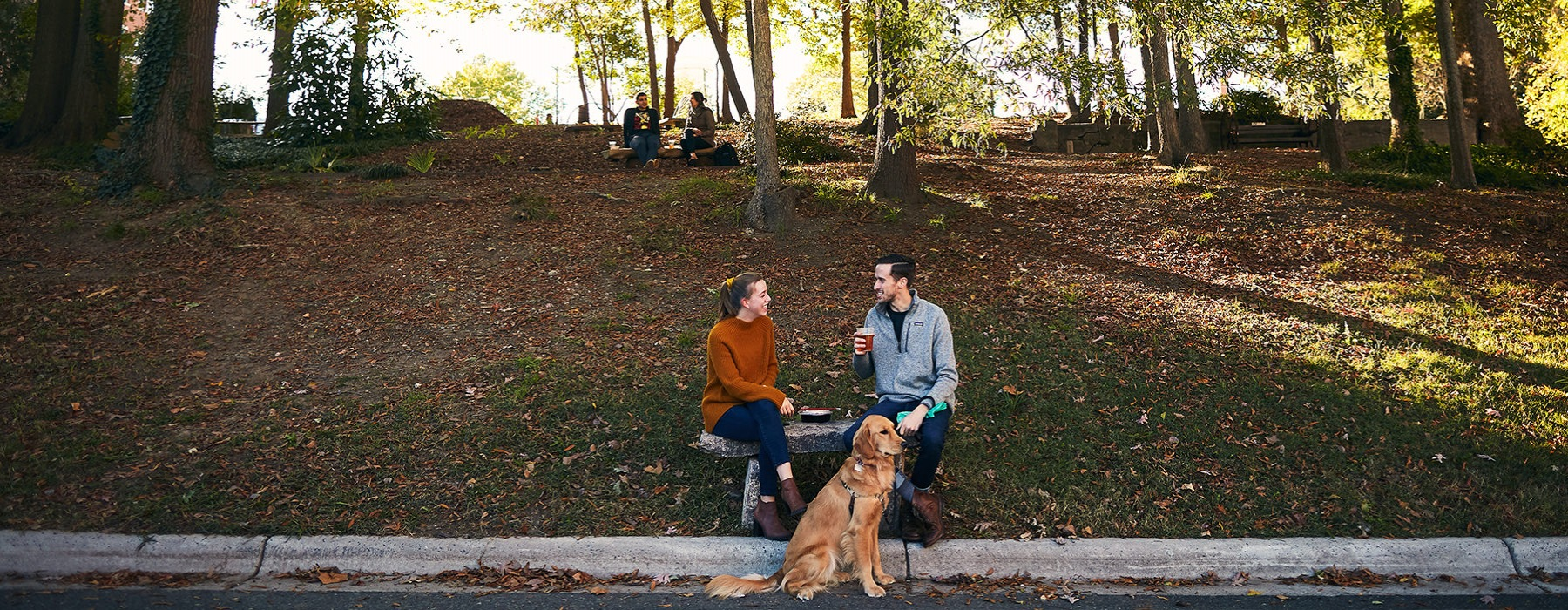couple sitting bench with dog